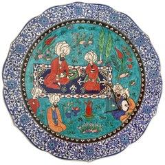Large Turkish Ottoman Scene Polychrome Hand Painted Ceramic Plate Kutahya