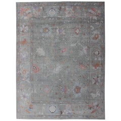 Large Turkish Oushak  Modern Rug in Light Green and Multi-Colors