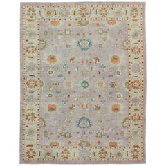 Large Turkish Oushak Rug with Colorful Palette and All-Over Design