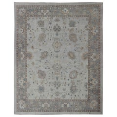 Large Turkish Oushak Rug with Neutral Color Palette and All-Over Flower Design