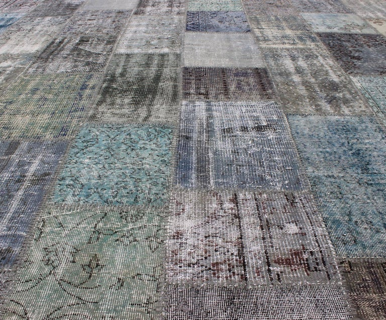 Large Turkish Patchwork Rug in Gray, Green, blue, Brown and Neutral Tones For Sale 4