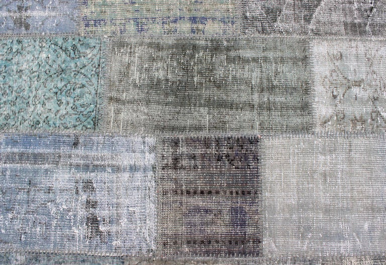 Large Turkish Patchwork Rug in Gray, Green, blue, Brown and Neutral Tones For Sale 5