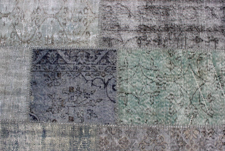Large Turkish Patchwork Rug in Gray, Green, blue, Brown and Neutral Tones For Sale 6