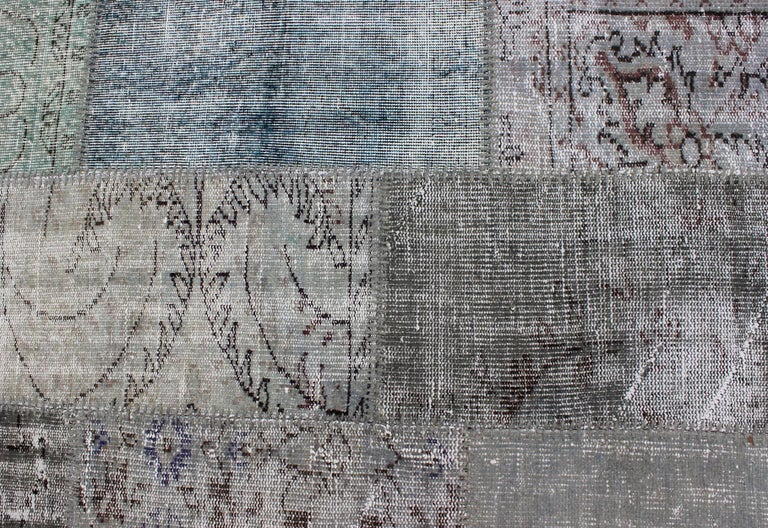 Large Turkish Patchwork Rug in Gray, Green, blue, Brown and Neutral Tones For Sale 7
