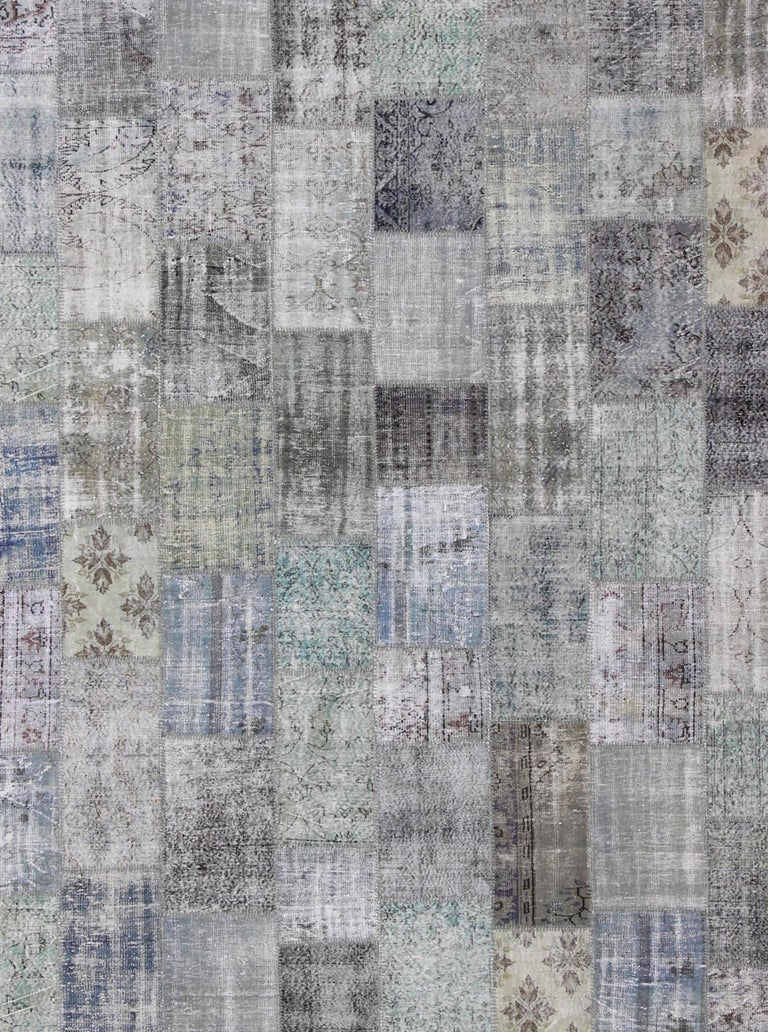 Mid-Century Modern Large Turkish Patchwork Rug in Gray, Green, blue, Brown and Neutral Tones For Sale