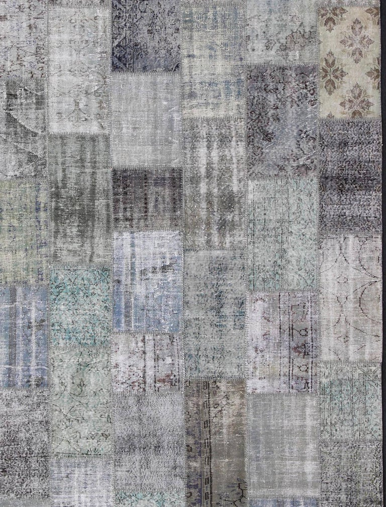 Hand-Knotted Large Turkish Patchwork Rug in Gray, Green, blue, Brown and Neutral Tones For Sale
