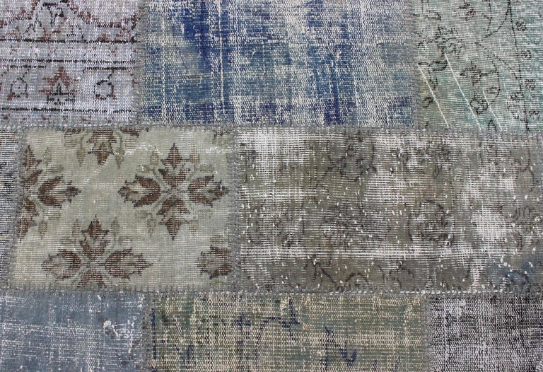 Mid-20th Century Large Turkish Patchwork Rug in Gray, Green, blue, Brown and Neutral Tones For Sale