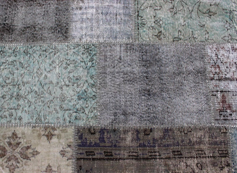 Wool Large Turkish Patchwork Rug in Gray, Green, blue, Brown and Neutral Tones For Sale