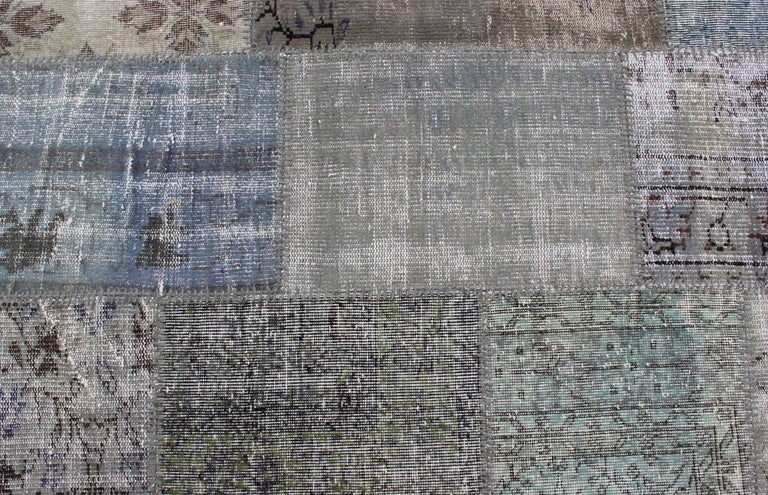 Large Turkish Patchwork Rug in Gray, Green, blue, Brown and Neutral Tones For Sale 1