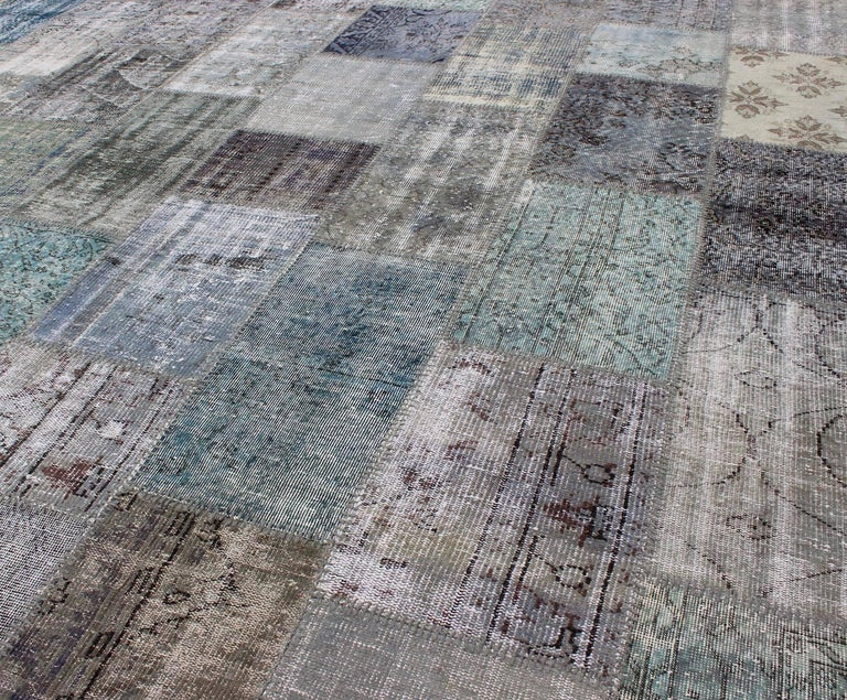 Large Turkish Patchwork Rug in Gray, Green, blue, Brown and Neutral Tones For Sale 2