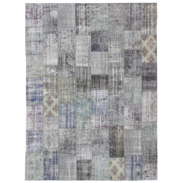 Large Turkish Patchwork Rug in Gray, Green, blue, Brown and Neutral Tones For Sale