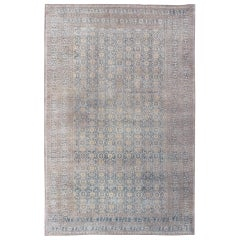 Large Turkomen Rug with All-Over Design in Blue and Tans