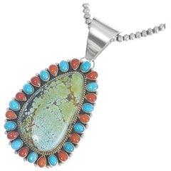 Large Turquoise and Coral Pendant Necklace Sterling Navajo