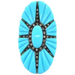 Large Turquoise and Diamond Star Burst Cocktail Ring Estate Fine Jewelry