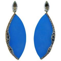 "Large Turquoise Aquamarine ""Ocean"" Gold Drop Earrings"