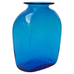 """Large Turquoise Blown Glass Asymmetrical """"Ribbed"""" Vase by Blenko"""