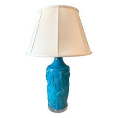 Large Turquoise Equine Theme Chinese Lamp