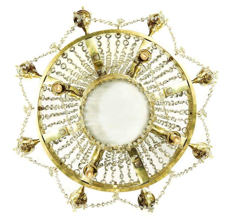 20th Century Large Twelve-Light Crystal Chandelier in the English Regency Manner For Sale