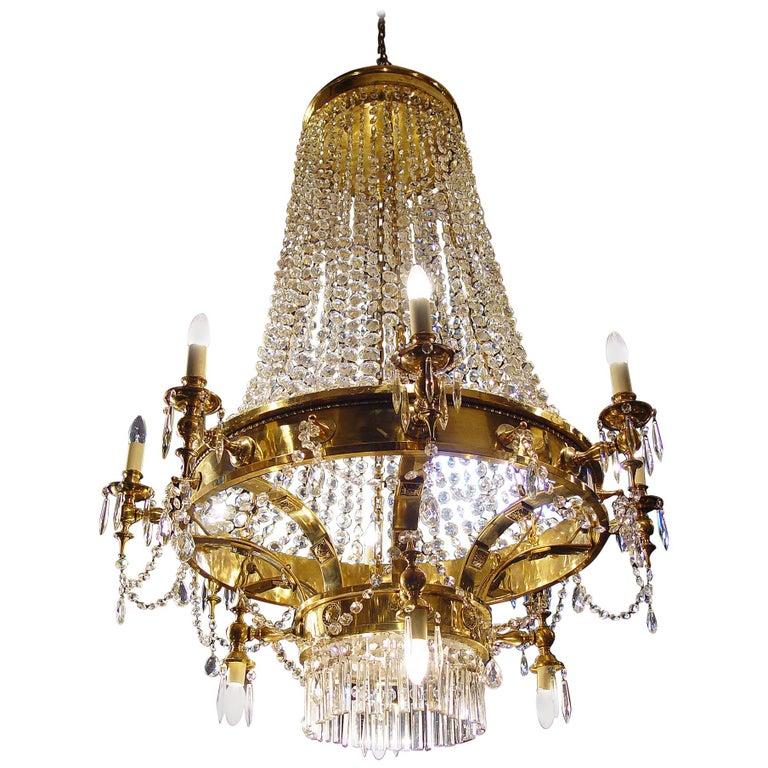 Large Twelve-Light Crystal Chandelier in the English Regency Manner For Sale