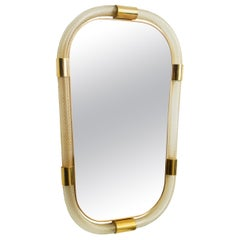 Large Twisted Murano Glass and Brass Frame Mirror, in Stock