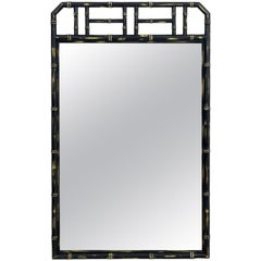 Large Two Color Hollywood Regency Faux Bamboo Mirror