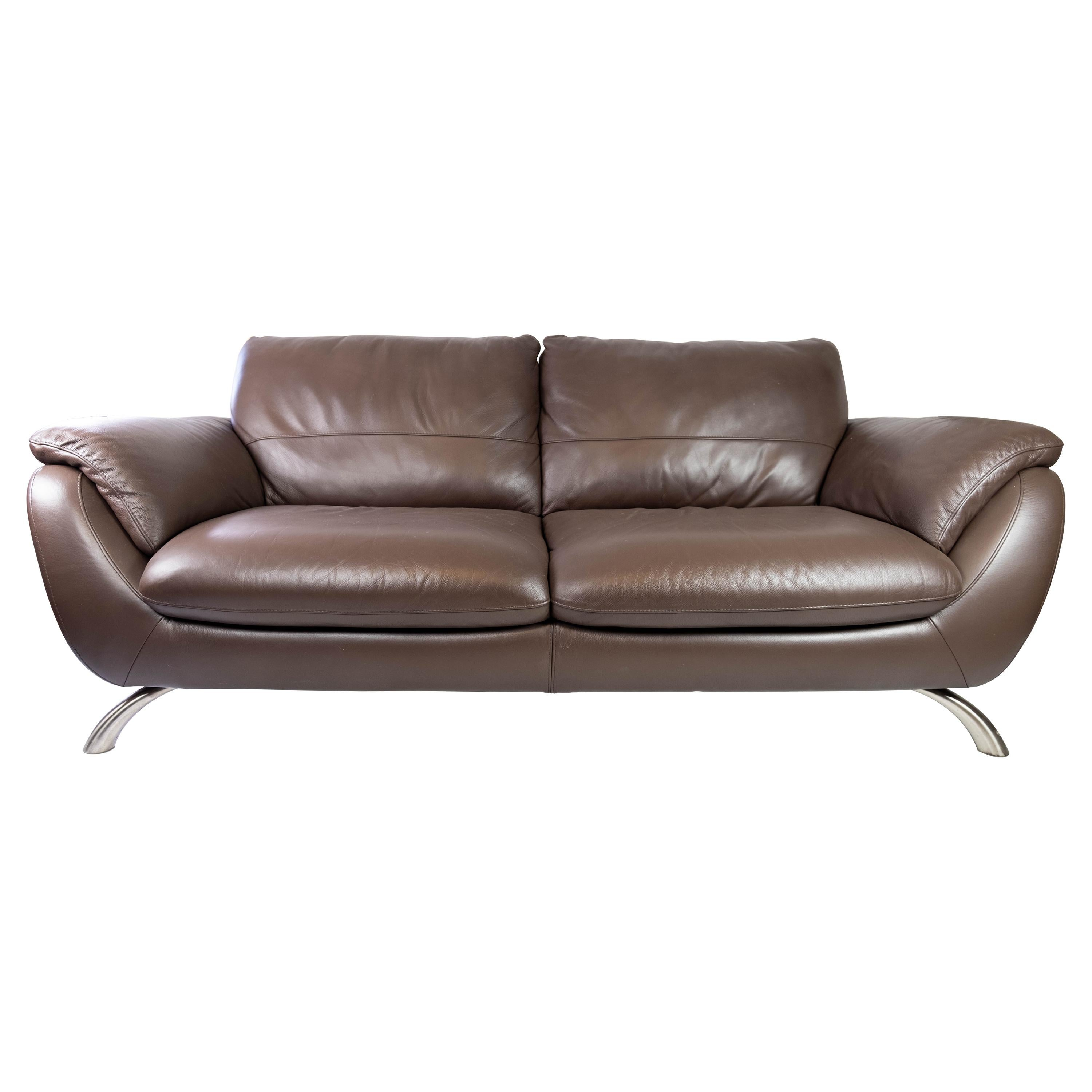 Large Two Seater Sofa Upholstered with Brown Leather, Italsofa