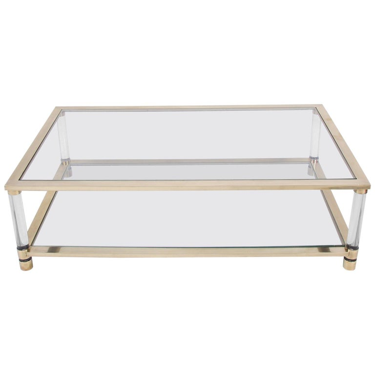 Two Tiered Brass And Glass Coffee Table: Large Two-Tier Glass And Brass Coffee Table At 1stdibs