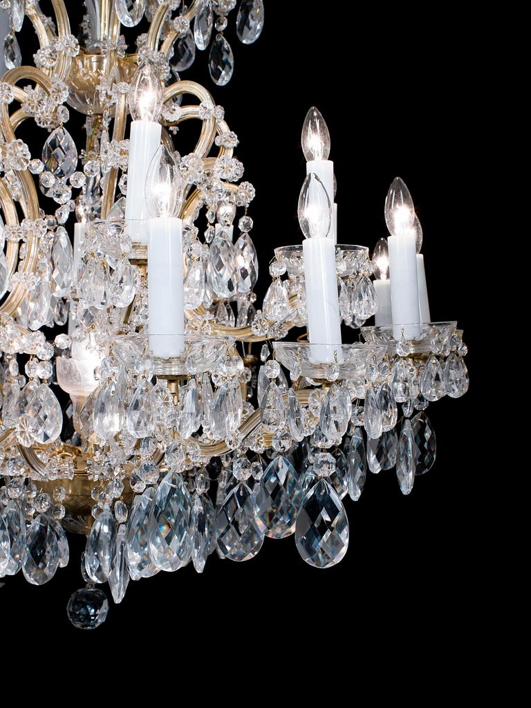 Large Two-Tier Glass and Brass Neoclassical Chandelier In Good Condition For Sale In London, GB
