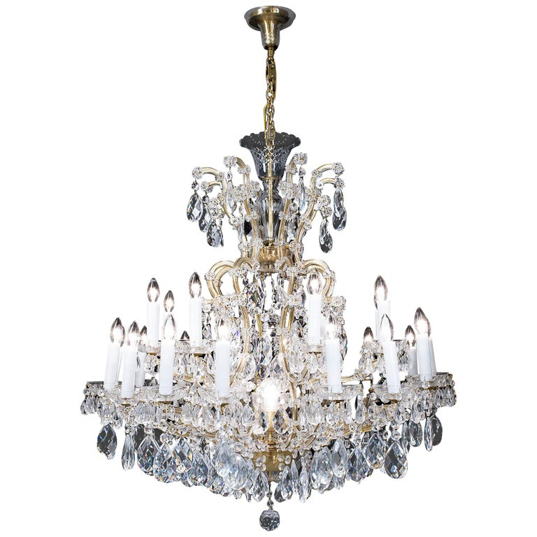 Large Two-Tier Glass and Brass Neoclassical Chandelier For Sale