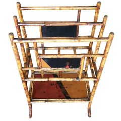 Restored Aesthetic Movement Large Two-Tier Tiger Bamboo Magazine Rack w/ Divider