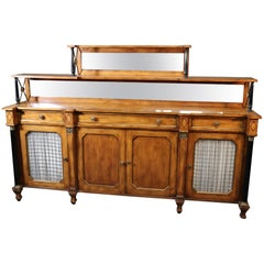Large Two-Tier Walnut French Regency Bronze Mounted Sideboard Buffet Server