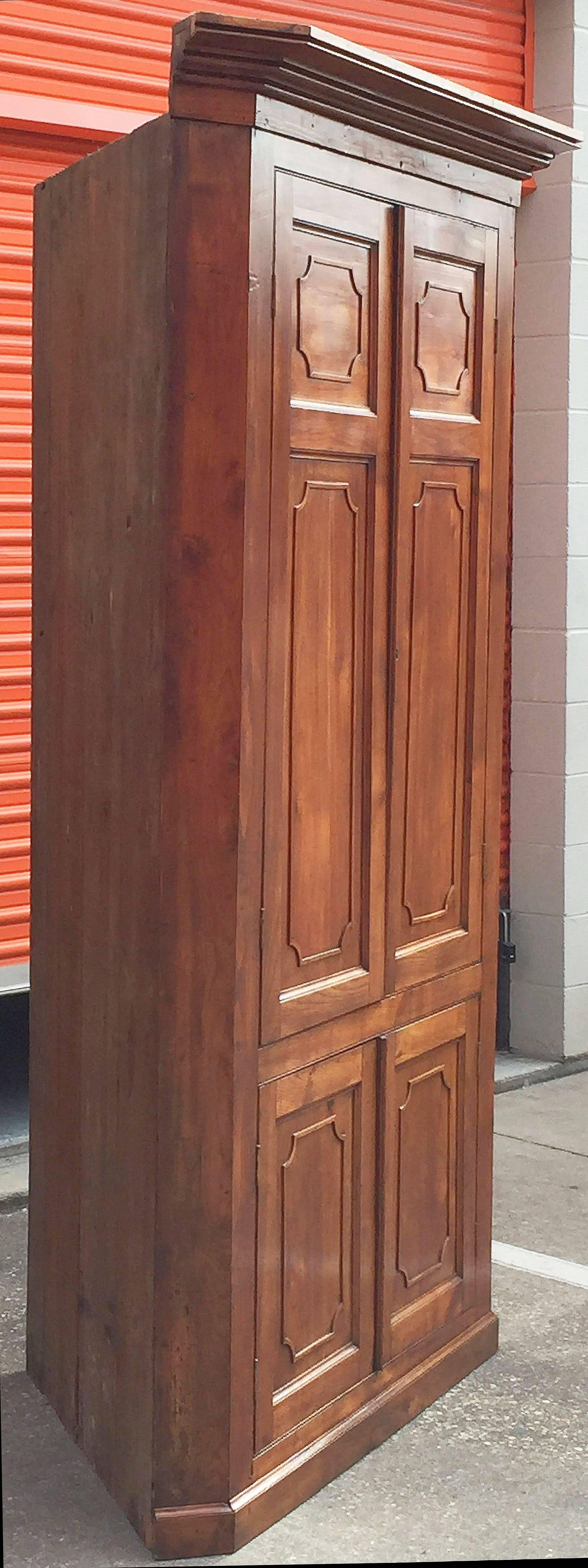 Large Two Tiered Corner Cabinet Or Cupboard Of Cherry With Paneled Doors  For Sale 1