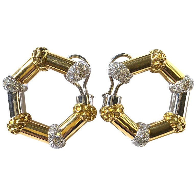 Large Two-Tone Stylized Bamboo Hoop 2 Carat of Diamonds Earrings For Sale