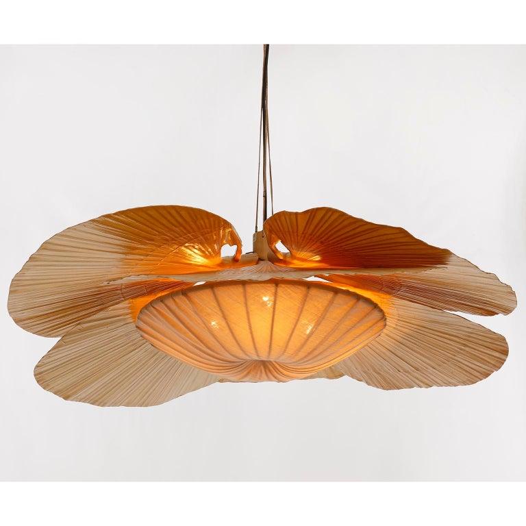Large 'Uchiwa' Pendant Light Chandelier, Ingo Maurer, Bamboo Paper, 1970s 4