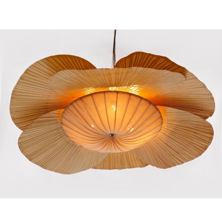 Large 'Uchiwa' Pendant Light Chandelier, Ingo Maurer, Bamboo Paper, 1970s 5