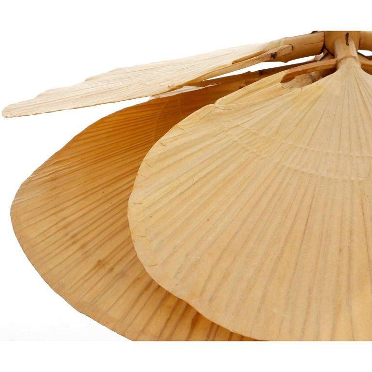 Large 'Uchiwa' Pendant Light Chandelier, Ingo Maurer, Bamboo Paper, 1970s 7