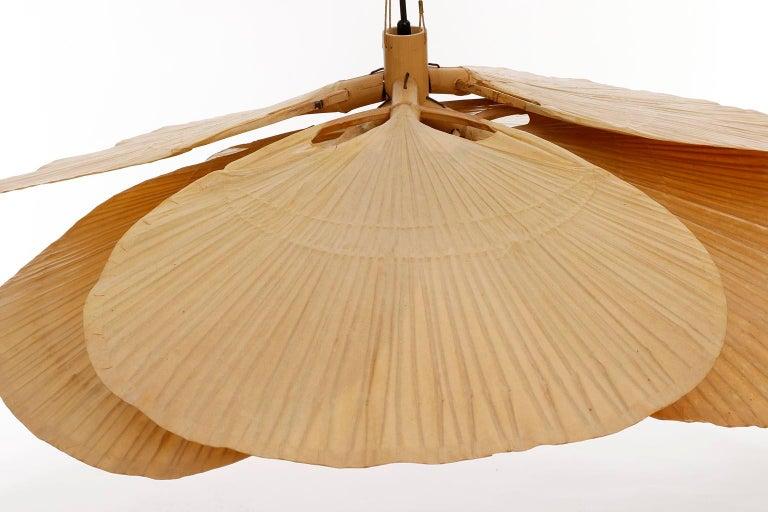 Large 'Uchiwa' Pendant Light Chandelier, Ingo Maurer, Bamboo Paper, 1970s 8