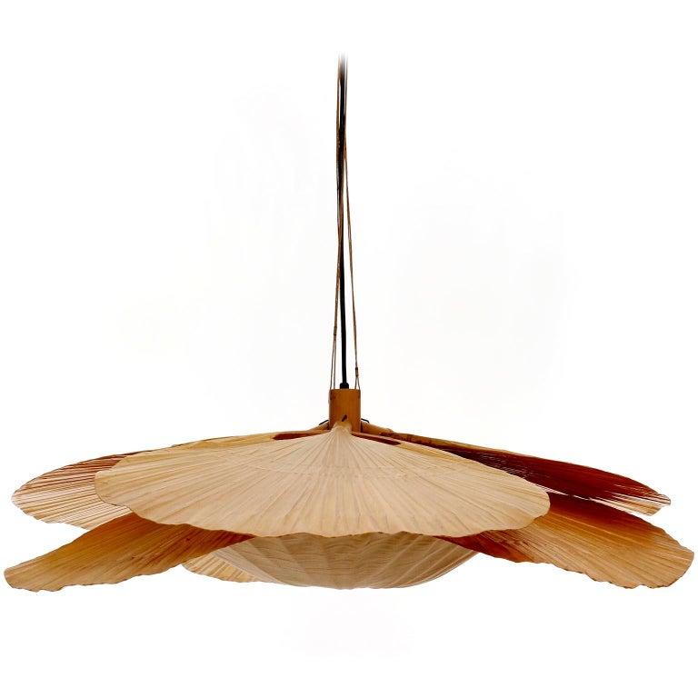 German Large 'Uchiwa' Pendant Light Chandelier, Ingo Maurer, Bamboo Paper, 1970s