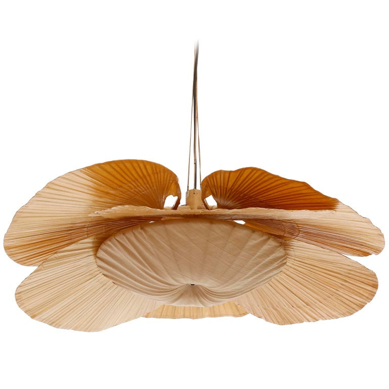 Large 'Uchiwa' Pendant Light Chandelier, Ingo Maurer, Bamboo Paper, 1970s In Excellent Condition In Vienna, AT
