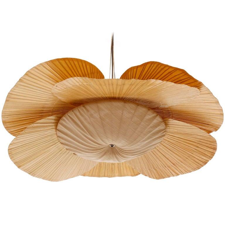 Late 20th Century Large 'Uchiwa' Pendant Light Chandelier, Ingo Maurer, Bamboo Paper, 1970s