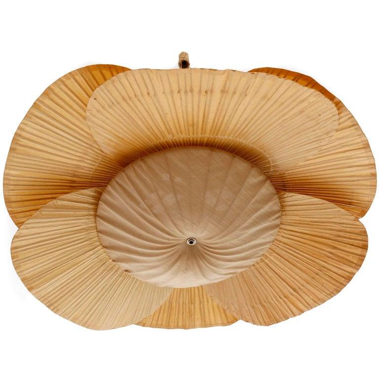 Large 'Uchiwa' Pendant Light Chandelier, Ingo Maurer, Bamboo Paper, 1970s 1