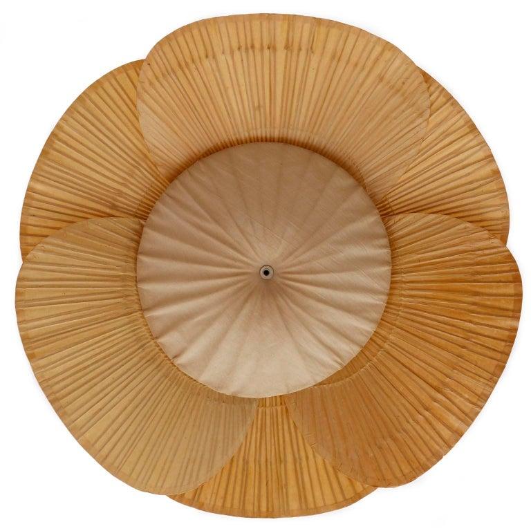 Large 'Uchiwa' Pendant Light Chandelier, Ingo Maurer, Bamboo Paper, 1970s 2