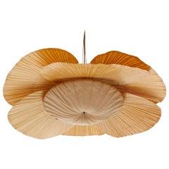 Large 'Uchiwa' Pendant Light Chandelier, Ingo Maurer, Bamboo Paper, 1970s