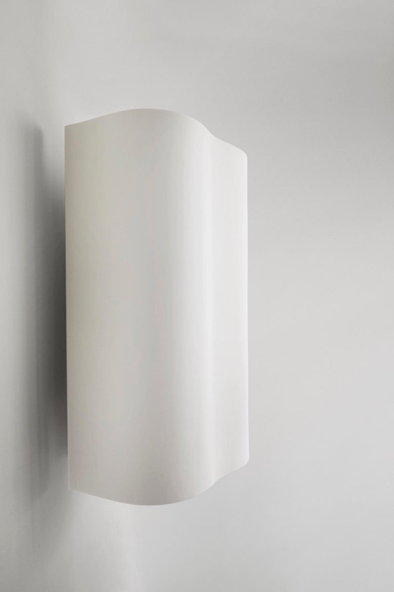 Modern Large Undulating Sculptural Wall Sconce in White Corian For Sale