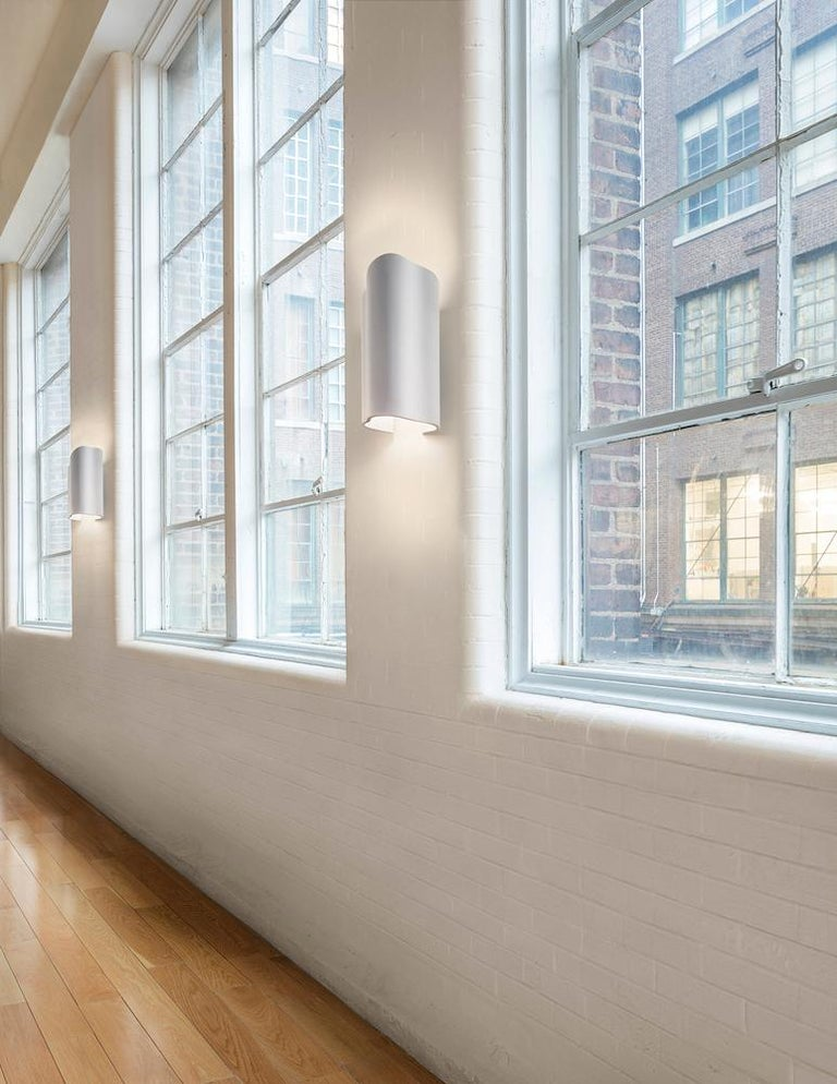 American Large Undulating Sculptural Wall Sconce in White Corian For Sale