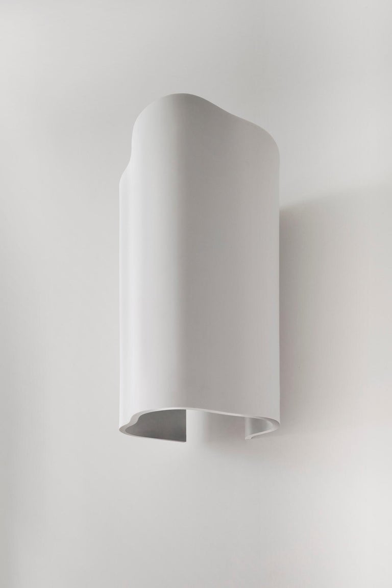 Contemporary Large Undulating Sculptural Wall Sconce in White Corian For Sale