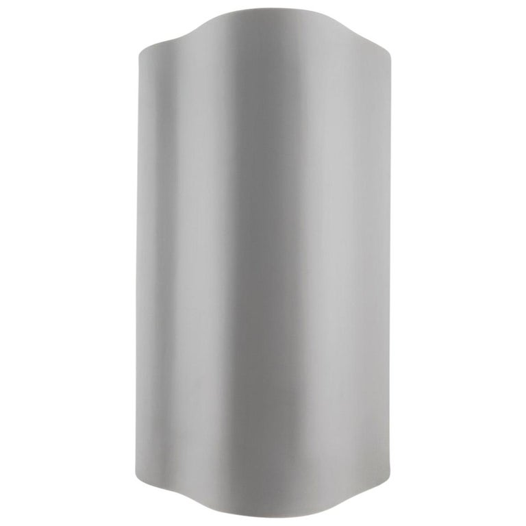 Large Undulating Sculptural Wall Sconce in White Corian For Sale