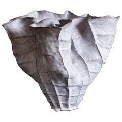 Large Undulating Stoneware Vessel by Ceramicist Young Mi Kim