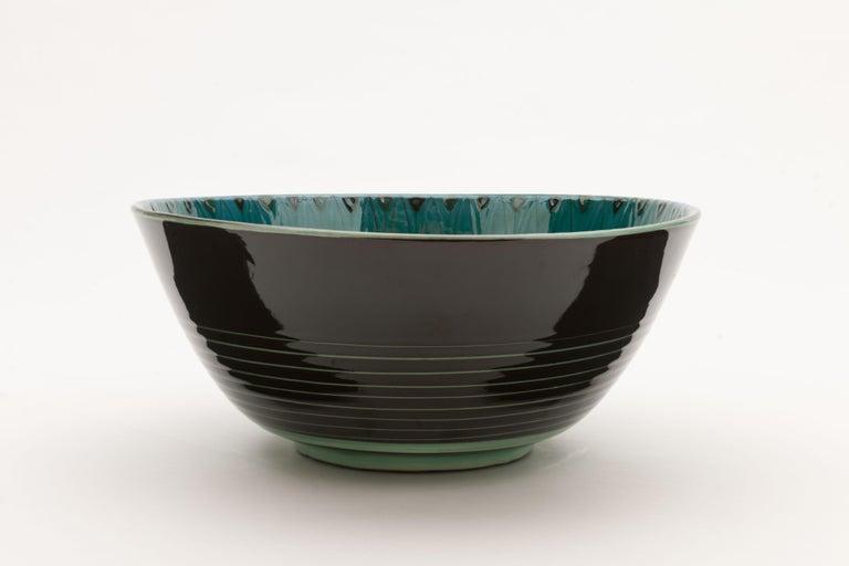 Scandinavian Modern Large Unique Glazed Stoneware Bowl by Herman H.C. Kähler, Denmark For Sale