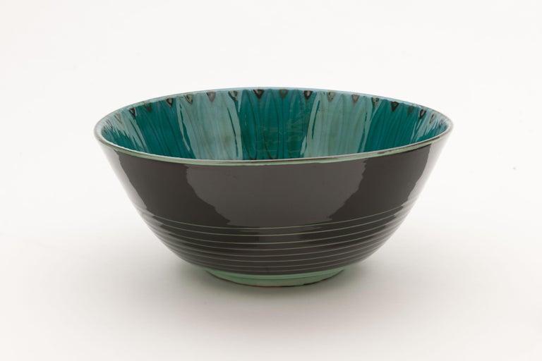 Danish Large Unique Glazed Stoneware Bowl by Herman H.C. Kähler, Denmark For Sale